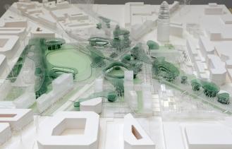 Avant travaux et projet futur de la place Glories, Barcelone
